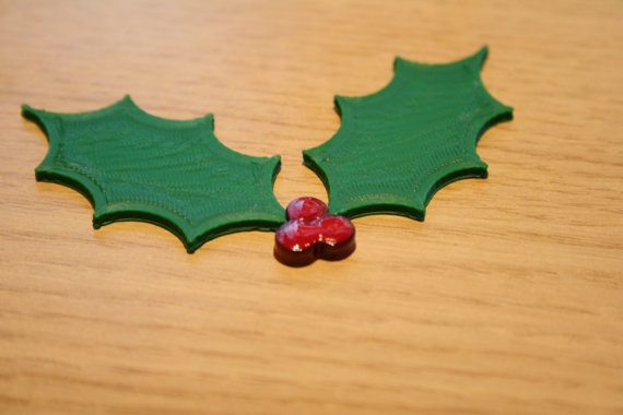 3D printed holly on my Etsy store