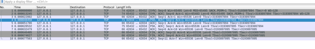 Network traffic capture showing SYN/ACK handshake, and some data transfer